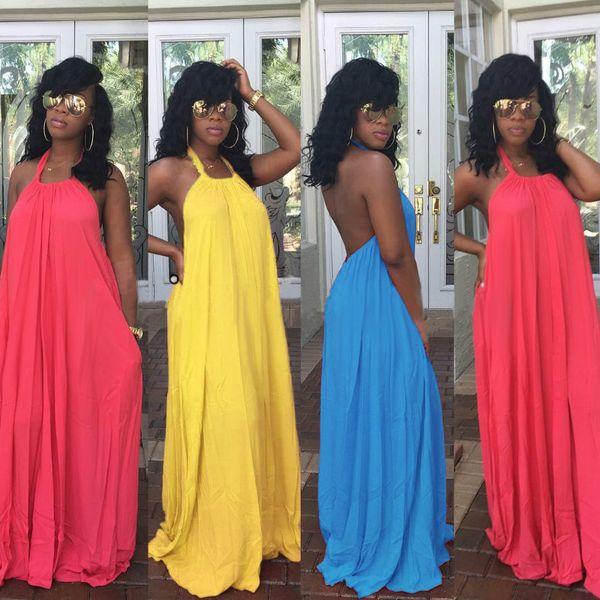 Womens Sexy Long Dresses Summer Ladies Plain Sleeveless Halter Neck Backless Cut Out Split Shift Maxi Dress Long Floor-Length Elegant Vestid
