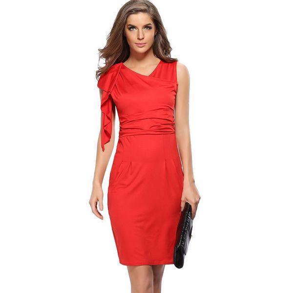 Fashion Women Sleeveless Package Hip Summer Dress Evening-dress Cultivate Elegant Sexy Peplum Pencil Dresses Solid Color Vestidos