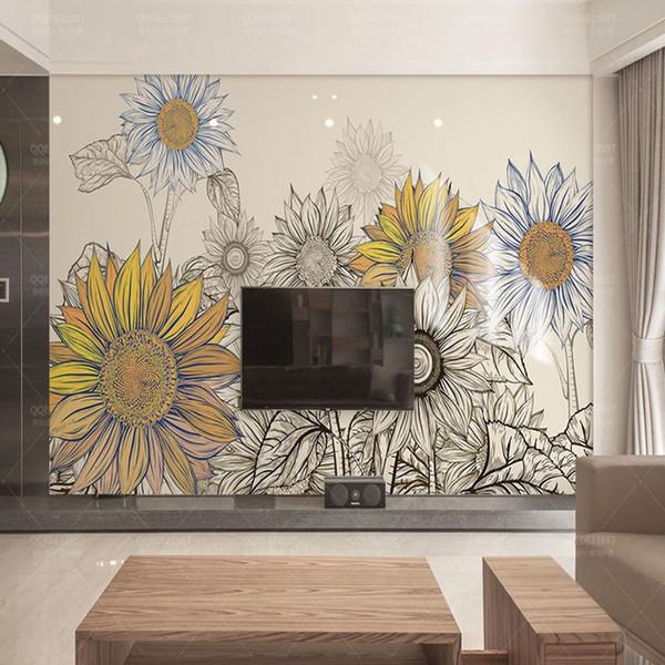 Großhandel 3D Moderne Minimalistische TV Wand Hintergrund Wand Tapete  Wohnzimmer Schlafzimmer Sofa Tapete Amerikanischen Pastoralen Sonnenblumen  ...