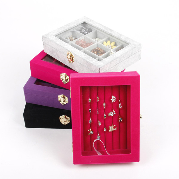 Wholesale Gray/Black/Pink Velvet Jewelry Case Storage Box With Glass Lid For Earring Ring Pendant Necklace Display New Arrival