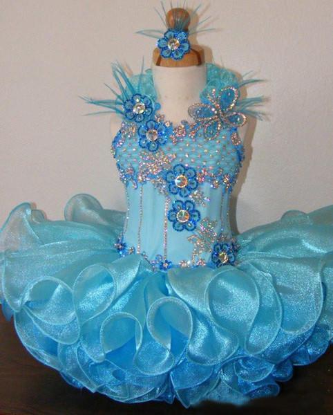2017 Girls Cupcake Dresses Ball Gown Halter Neckline Hand Made Flowers Ruffle Organza Blue Short Mini Little Girls Pageant Dress