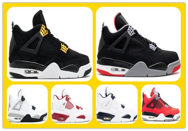 Toptan 4 IV Royalty Süet Siyah Altın Erkekler Basketbol Ayakkabıları 4 s Motorsport Beyaz Çimento Spor Sneakers Ayakkabı Ile Yüksek Kalite Kutusu