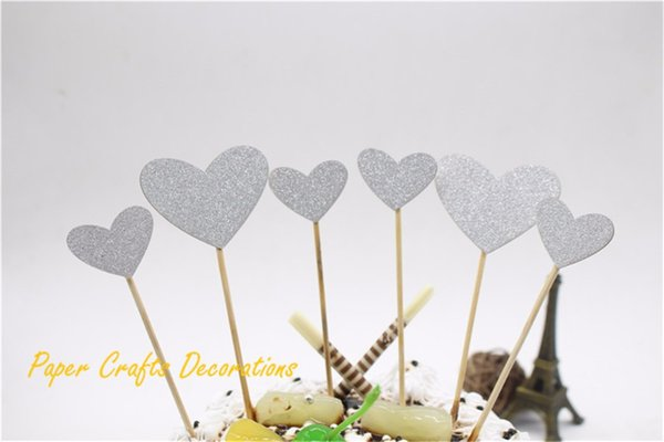Wholesale- Set of 6pcs Cake Decorations Silver Glitter Heart Cake Toppers Set Baby Shower Birthday Cupcake Party Decor