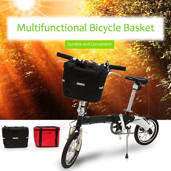 Black&Red Bicycle Basket Detachable Canvas Bike Handlebar Front Carrier Bag Cycling Pet Carrier Bags Cycle Accessories Bicicleta