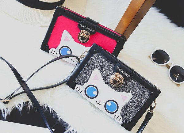 New women Fashionable joker lovely single shoulder cross body bag lady printing kitten finalize small evening bag black/pink/grey and so on