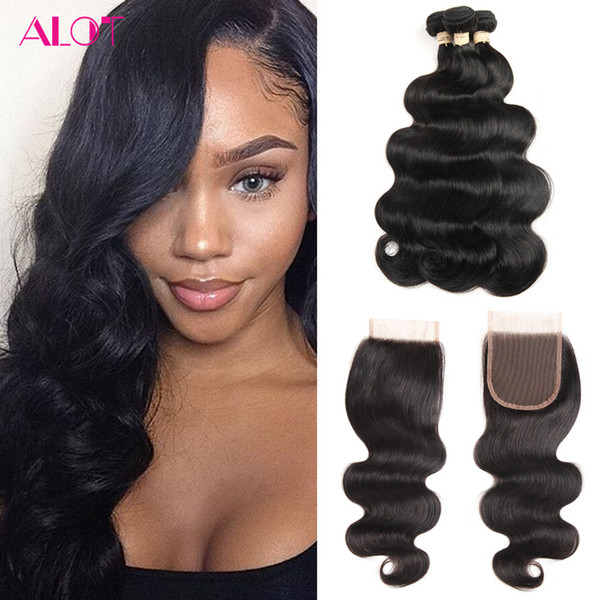 Brazilian Virgin Human Hair Lace Closure Body Wave Hair Weaves 3 Bundles with 4x4 Closure Unprocessed Remy Human Hair Extensions