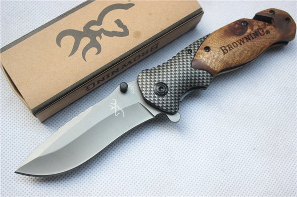 best selling Browning X50 Tactical Folding Pocket Knife Steel Blade Wood Handle Titanium Survival Knives Huntting Fishing EDC Tool With box wholesale