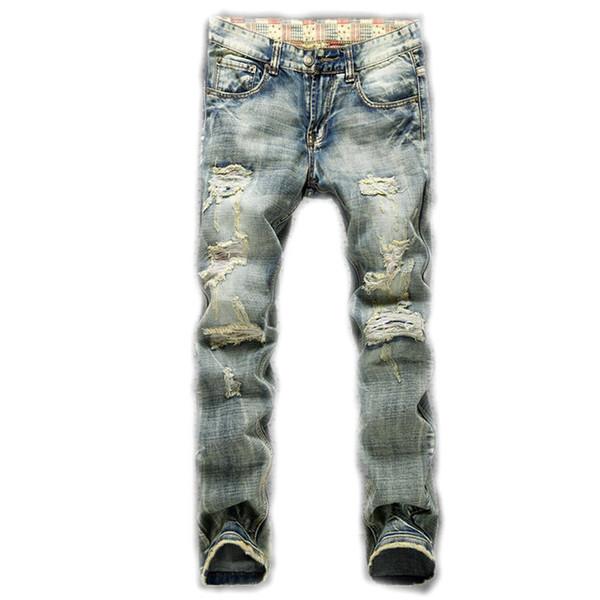 Wholesale-New New men's hole nostalgic cloth torn more blunt bad cowboy pants