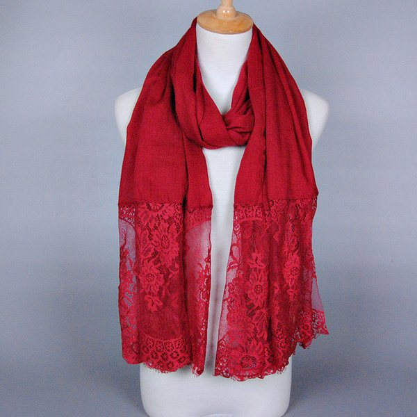 High quality plain cotton lace floral long shawls Muffler popular winter muslim wrap multicolor scarves/scarf for women