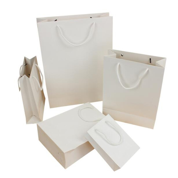 100PCS/LOT Standard Style Paper Gift Bag For Gift Candy White Shopping Bag 5 Size Available