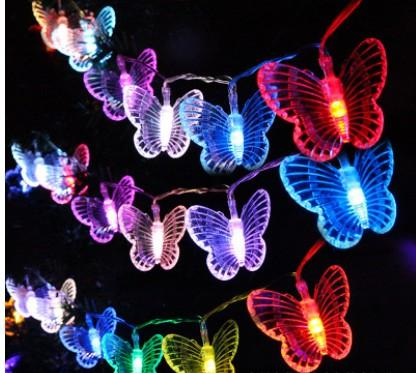 Outdoor wedding Christmas decoration lantern dormitory ornaments lanterns 10LED large butterfly battery lights flash string