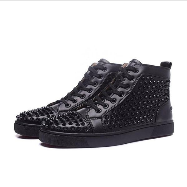 Cheap red bottom sneakers for men with Spikes black suede fashion casual mens boots shoes ,2017 men leisure trainer footwear