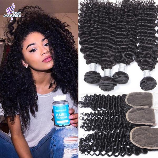 Современный шоу волос перуанский вьющиеся волны человеческих волос необработанные перуанский Девы волос 4 связки с закрытием