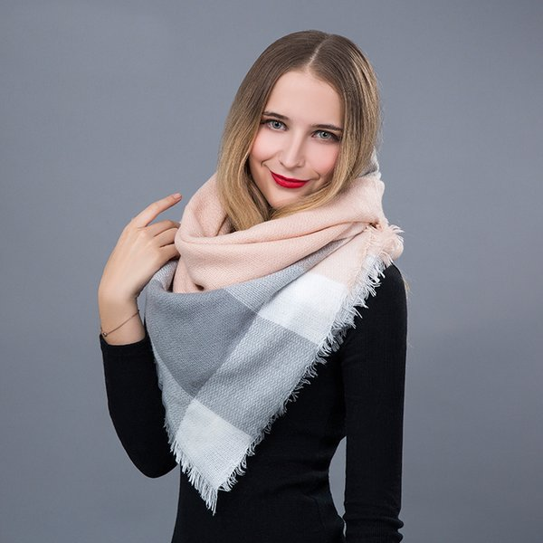 Fashion Winter Scarf For Women Triangle Warm Scarf Women Plaid Blanket Cashmere Scarves Luxury Brand Fashion Wool Shawls Wholesale