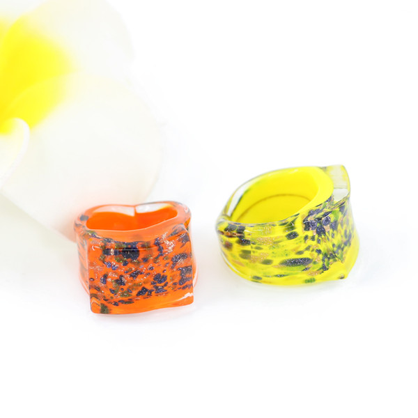 Lampwork Glass Rings New Fashion Rectangle Shape glass rings with mix color mix size 12pcs/pack MC1004