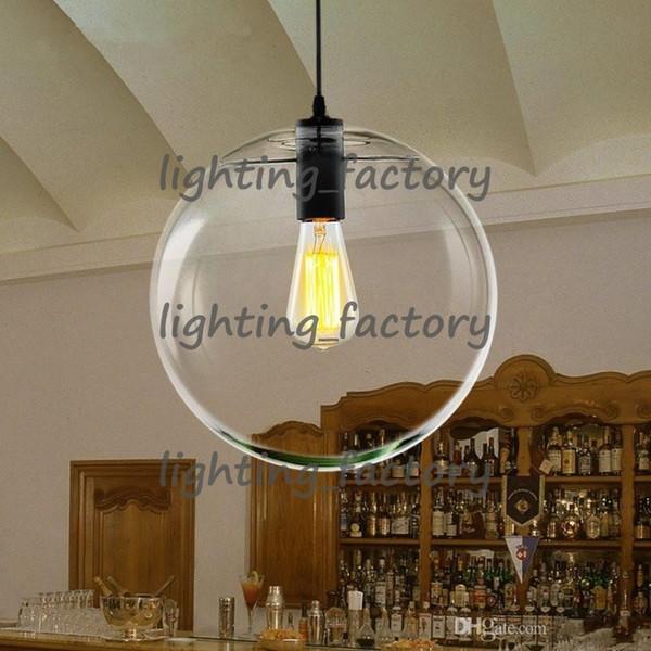 Moderno Nordic Lustre Luces colgantes del globo Bola de cristal Lámpara de la pantalla Lámpara colgante E27 Suspensión Accesorios de iluminación para la cocina Iluminación del hogar