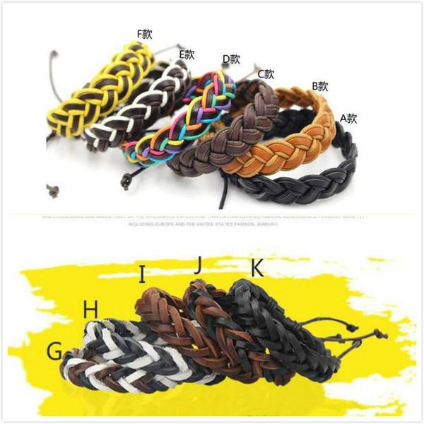 best selling Leather Bracelets Fashion Jewelry for Girls Boys Charm Punk Style Bracelets Leather Bracelets Adjustable Manual Handmade DIY Hands Chains