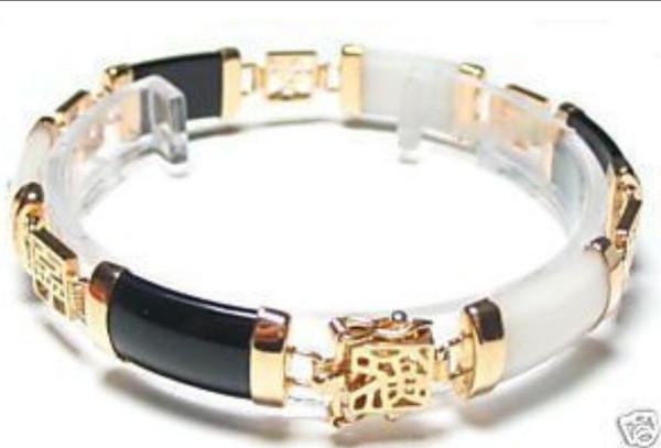 "free shipping > Exquisite 18KGP Black White Jade Bracelet 7.5""AAAAR"
