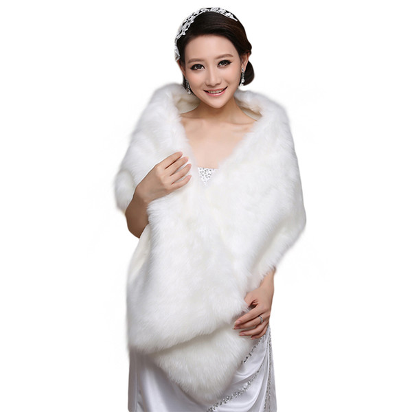 Elegant White Long Bridal Wraps Fake Faux Fur Hollywood Cheap Stock Wedding Jackets Outdoor Cover up Cape Stole Coat Shrug Shawl Bolero