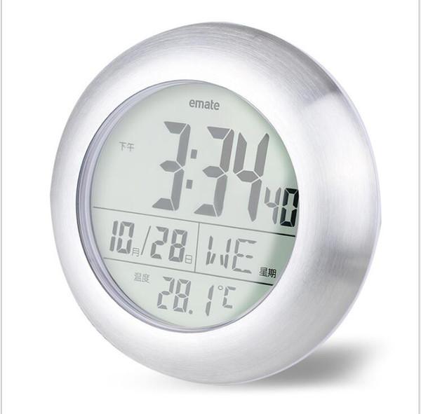 multifunktionale wasserdichte Dusche Zeit Uhr Digital Badezimmer Küche Hotel Wanduhr Silber große Temperatur und Luftfeuchtigkeit Display