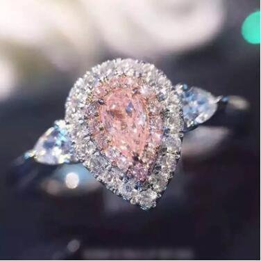Diamantes banhados a ouro, diamantes nus, diamantes de diamante, anéis femininos, diamantes em forma de gota de água