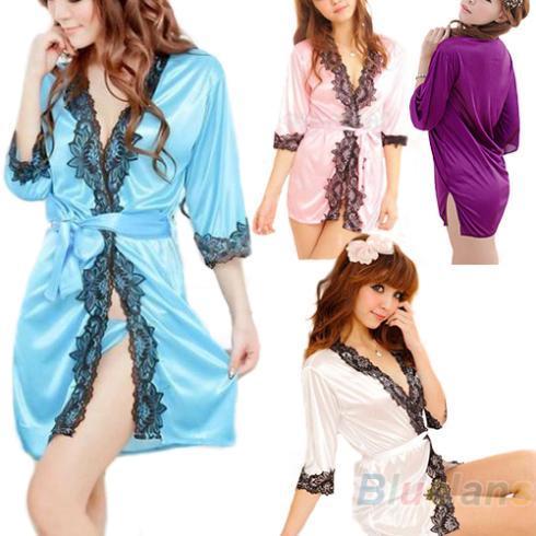Venda por atacado- Bluelans Lingerie Sexy Underwear Set Faux Lace Silk Trabalho Sleepwear Roupão De Banho Roupão De Banho Camisola para as Mulheres 4 Cores