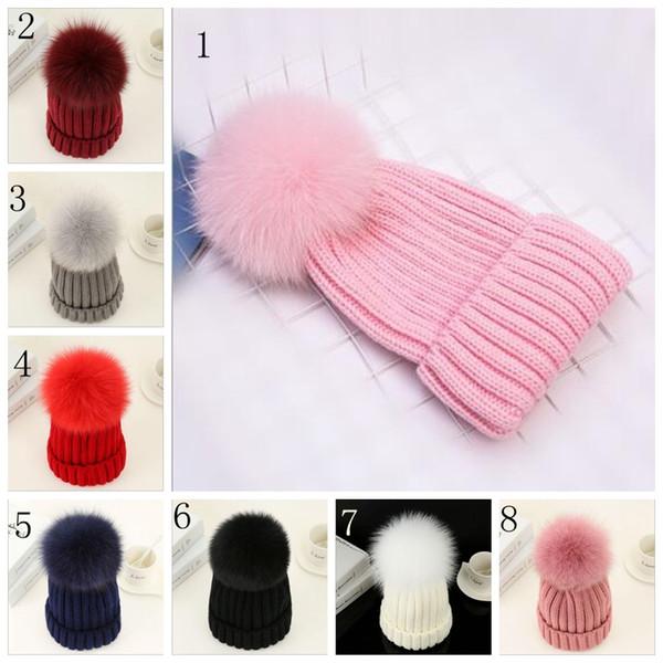 Quality Removable Real Mink Fox Fur Pom Poms Ball Acrylic Beanies Winter Warm Plain Hats Adults Kids Children Slouchy Mens Womens YYA529