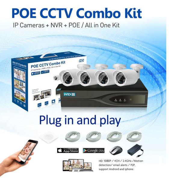 HD 1080 P POE 4 PCS 2.0MP Rede IP Câmera de Segurança Em Casa Sistema de CCTV 4CH HDMI NVR Alerta de E-mail P2P Kits de Vigilância