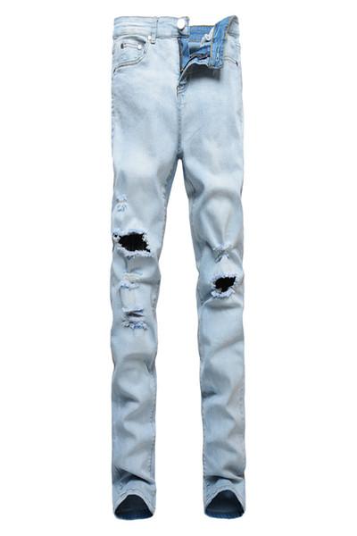 Hombres Diseñador de la marca de moda Ripped Biker Jeans apenado Moto Denim Joggers destruido rodilla negro cuero plisado Patch Jeans