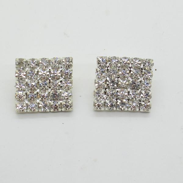 top popular 50pcs 16x16mm Square Rhinestone Embellishment Buttons FlatBack DIY Crystal Buckles Factory Price 2021