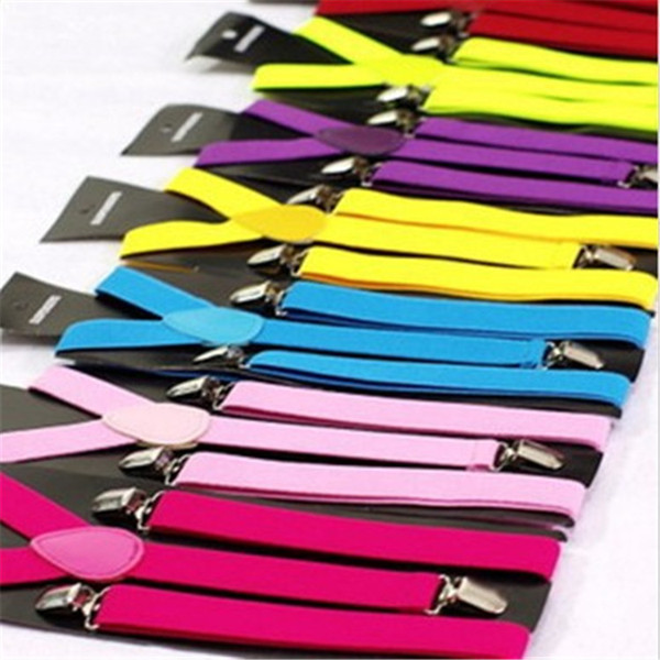 50pcs High Quality Candy Color Unisex Adjustable Pants Y-back Suspender Brace Elastic Clip-on Belt Adjustable Braces Suspenders TA207