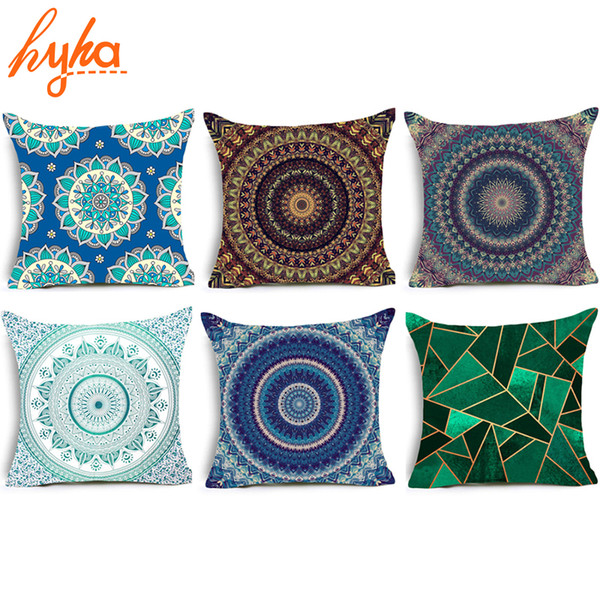 Hippie Mandala Polyester Cushion Cover Bohemian Indian Style Geometric Pillow  Cover Home Decorative Pillows For Sofa