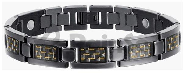 top popular heathy tool Men's Bracelet Carbon Fiber Magnetic Health Care Bracelets Bangle Stainless Steel Men Jewelry coo 2019