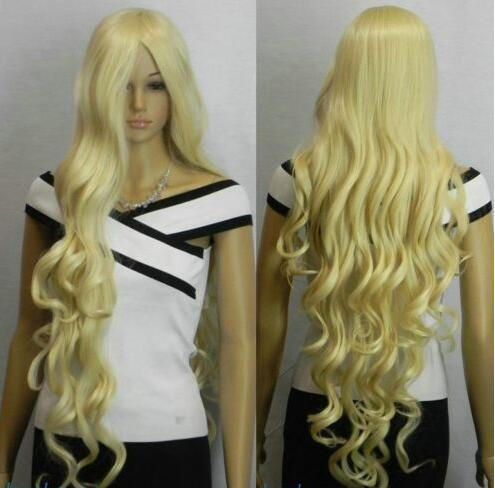 Nueva luz rubia 100cm extra larga ondulada peluca mujer