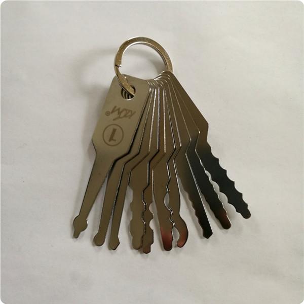 high quality KLOM 10pcs Jiggler Keys car Lock Pick Set auto Double Sided Lock professional locksmith tool stainless steel