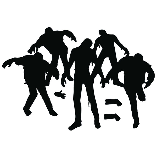 19.8cm*13cm Funny Zombie Walking Dead Living Monster Black/Silver Decals Car Sticker Vinyl Car-styling
