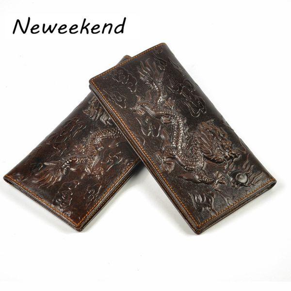 En gros - Livraison gratuite Vintage Style hommes Bifold souple en cuir véritable Long portefeuille titulaire de la carte d'argent Purse ID titulaire, Dragon