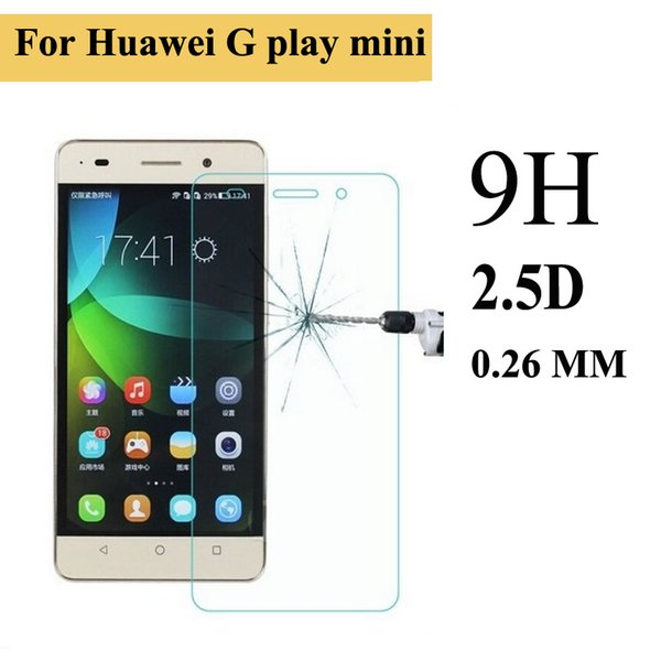 Wholesale-0.3mm Tempered Glass for Huawei Ascend G Play Mini 9H 2.5d Arc Edge Anti fingher Print Screen Protector with Clean tools