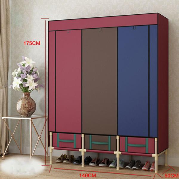Super Large Reinforced Portable Wardrobe Home Storage Hanger Closet Bold Creative Armoires Rack New