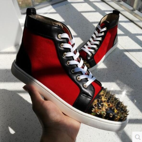 2017 new arrival men shoes red bottom shoes for men spike stud sneakers brand causal shoes male shinny leather rivets sneaker desigh