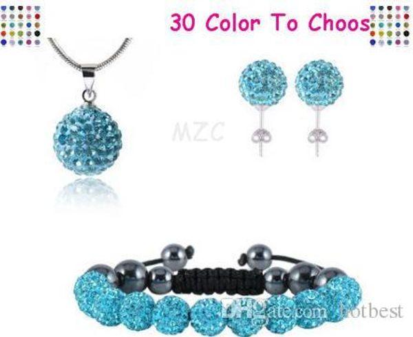 10Pcs/lot 10mm crystal clay fasion new arrival disco bead Rhinestone shamballa Set bracelet necklace studs earrings jewelry set o3522 j7