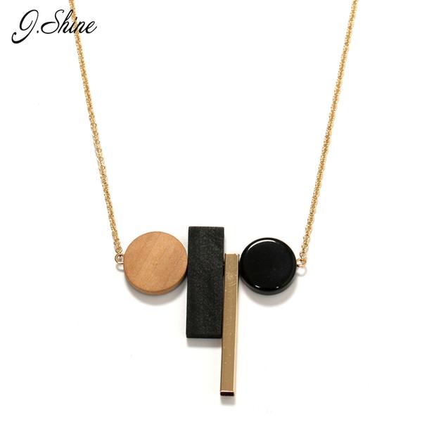 All'ingrosso JShine Fashion New Geometric Wood Resina Lunga Inverno Maglione Collane Del Pendente Collier Femme Europa Gioielli Etnici Collana Wom