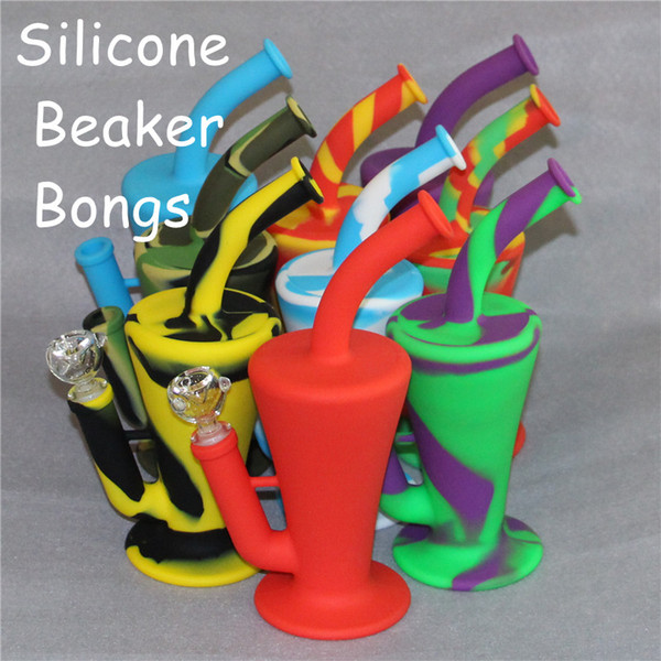 Wholesale Silicone Dab Concentrate Rig Oil Burner Bong 10.4 inch Unbreakable Silicone Water Pipe Beaker Bongs Free Shipping DHL