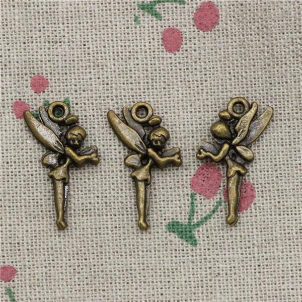74pcs Charms angel fairy 25*15mm Antique Bronze Vintage Pendants For Jewelry Making DIY Bracelet Necklace