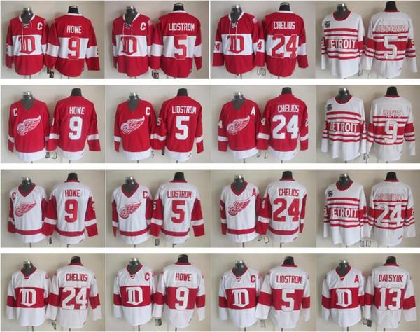 13 Pavel Datsyuk Jersey Men Detroit Red Wings 9 Gordie Howe 5 Nicklas Lidstrom 24 Chris Chelios Vintage Classic 75th Red White