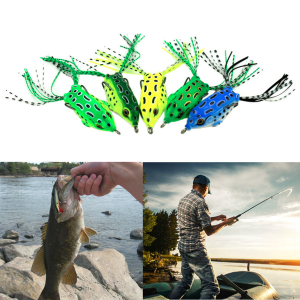 Soft Plastic Fishing lures Frog lure With Hook Top Water 5.5CM 8G Artificial Fish Tackle wholesale