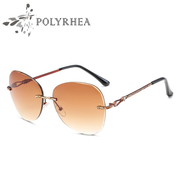 Top Quality Glass Lens Frameless Sunglasses European Fashion Women And Men Sunglasses Fashion Ocean Film Retro Sunglasses With Case And Box