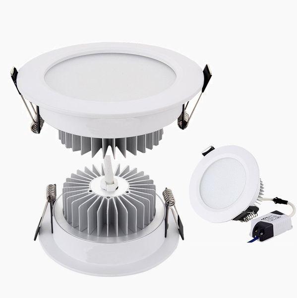 Серебристый / Белый Корпус Led Down Lights 9W 12W 15W 18W Dimmable Светодиодные светильники Встраи