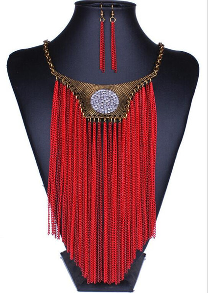 20set Fashion Jewelry Exaggerated Tassel Fashion Necklace Earrings Jewelry Set Crystal Rhinestone Clavicle Chain Necklace Earrings F460