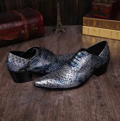 Luxus Gold Silber Schwarz Rot Männer Lederschuhe Spitzschuh Lace Up Oxford Heels Herren Kleid Schuhe